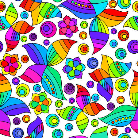Seamless pattern with bright stained glass butterflies and flowers, moths on a white background 免版税图像 - 160608482