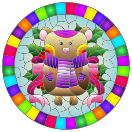 Illustration in stained glass style on the theme of the winter holidays of Christmas and New year, a toy bear on the background of Holly branches, round image in bright frame 免版税图像 - 160519429