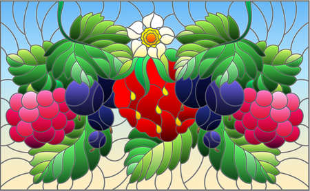 Illustration in stained glass style with ripe berries and leaves on a blue background, horizontal orientation 免版税图像 - 160519409