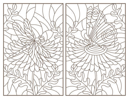 Set of contour illustrations of stained-glass Windows with flowers dragonflys and butterflies, rectangular images, dark contours on a white background 向量圖像