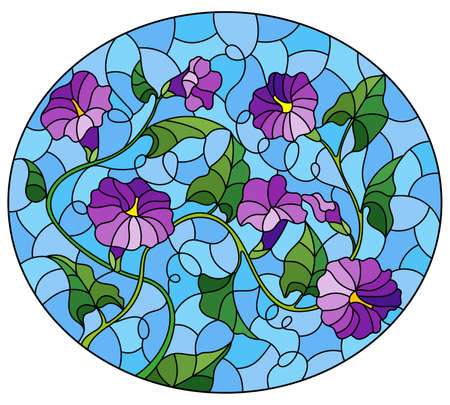 Illustration in stained glass style with intertwined purple flowers and leaves on a blue background, oval image Ilustração Vetorial