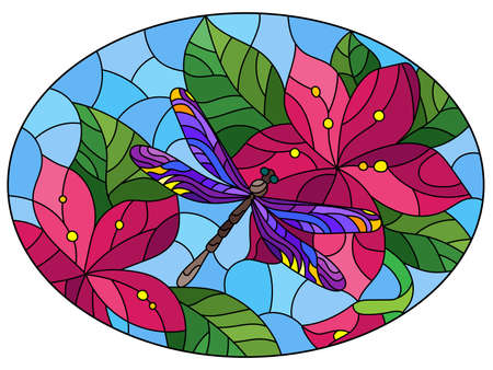 Illustration in stained glass style with a dragonfly and bright flowers on a blue background, oval image