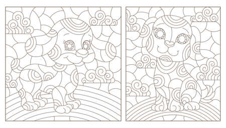 Set of outline illustrations in the style of stained glass with abstract dogs, dark outlines on white background, rectangular images