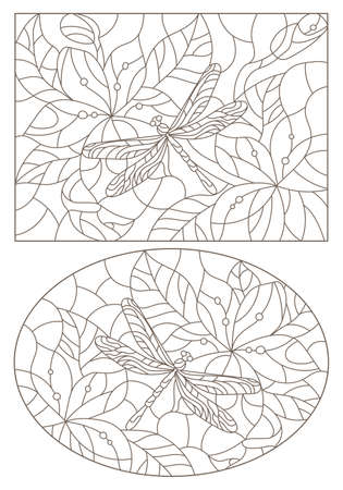Set of contour illustrations in stained glass style with dragonfly and flowers, dark outlines on a white background 向量圖像