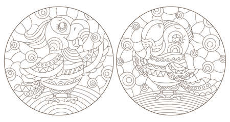 Set of outline illustrations in the style of stained glass with abstract parakeets, dark outlines on white background, round images