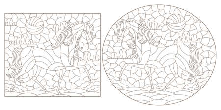 Set of contour illustrations in the stained glass style with horses on a landscape background, dark contours on a white background Ilustração