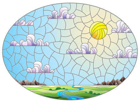 Illustration in stained glass style with the meandering river on a background of mountains, forests and Sunny sky, oval image
