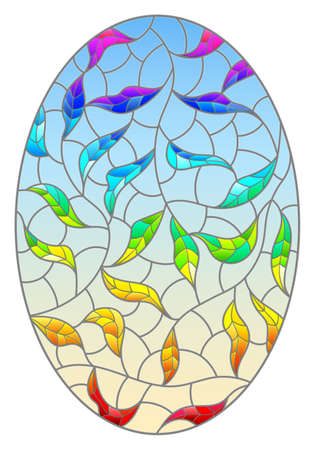 Illustration in stained glass style with a bright rainbow intertwined leaves on a blue background, oval image