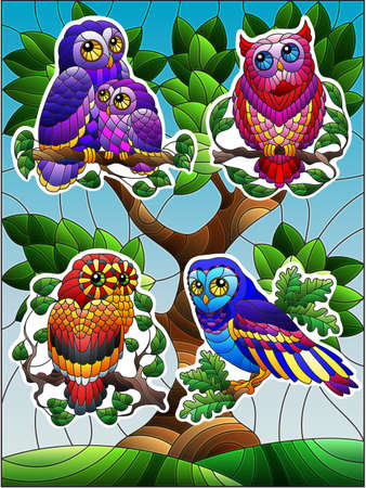 A set of stickers in a stained glass style with cartoon owls on the background of a tree and a blue sky