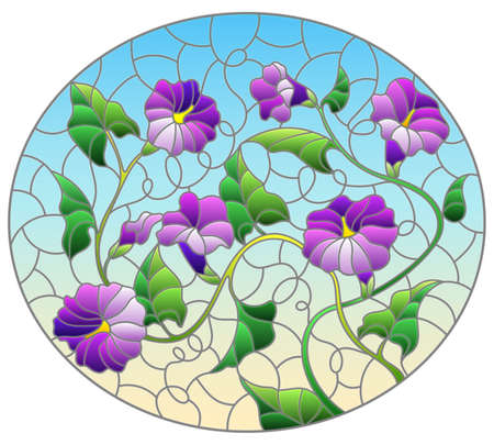 Illustration in stained glass style with intertwined purple flowers and leaves on a blue background, oval image