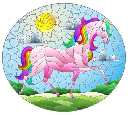 Illustration in stained glass style with a fabulous bright horse on a background of fields and a cloudy sky with the sun, oval image