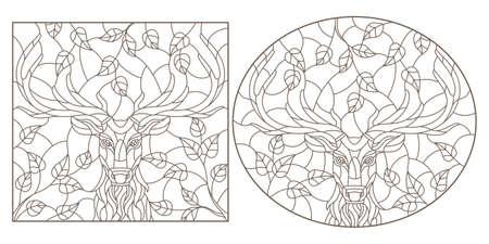 Set of contour illustrations in stained glass style with portraits of deers, dark contours on a white background