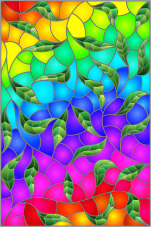 Illustration in stained glass style with green intertwined leaves on a bright rainbow background Vettoriali