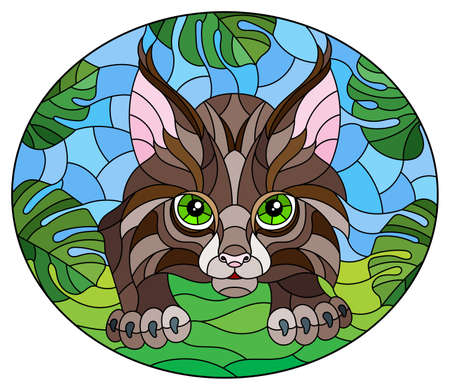 Illustration in stained glass style with baby lynx on the hunt, animal on the background of tropical leaves, oval image