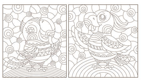 Set of outline illustrations in the style of stained glass with abstract parakeets, dark outlines on white background, rectangular images