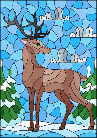 Illustration in stained glass style with a deer on the background of a winter landscape 일러스트