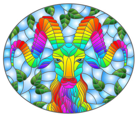 Illustration in stained glass style with the head of a rainbow ram on a background of tree branches and blue sky, oval image