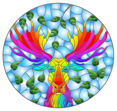 Illustration in stained glass style with the head of a rainbow moose on a background of tree branches and blue sky, oval image