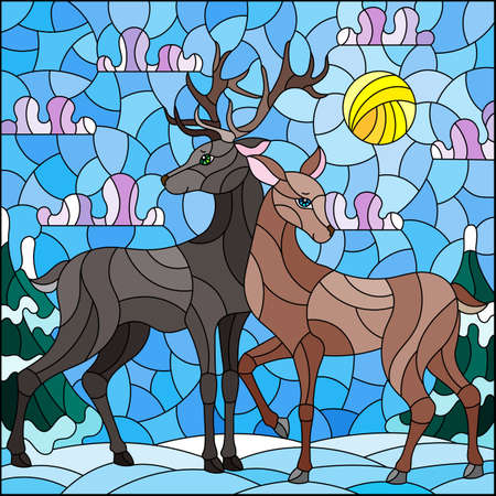 Illustration in stained glass style with a pair of deer on the background of a winter landscape 일러스트