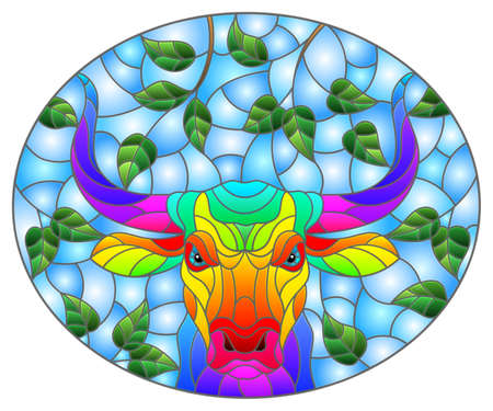 Illustration in stained glass style with the head of a rainbow bull on a background of tree branches and blue sky, oval image 일러스트