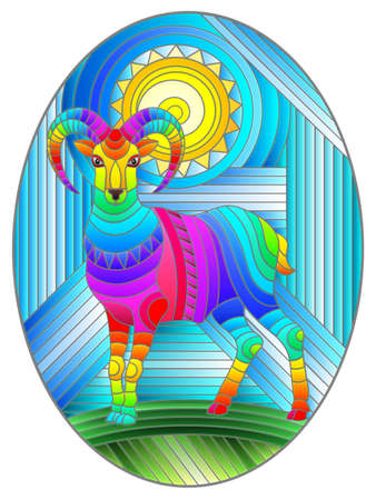 Illustration in stained glass style with an abstract rainbow RAM and the sun on a geometric blue background