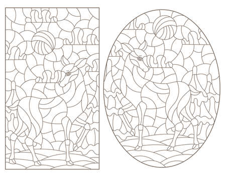Set of contour illustrations in stained glass style with deer on landscape background, dark outlines on white background
