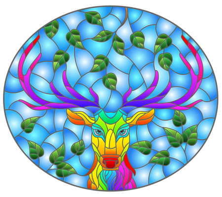 Illustration in stained glass style with the head of a rainbow deer on a background of tree branches and blue sky, oval image