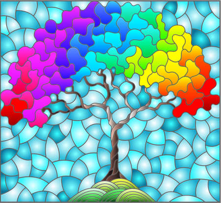 Illustration in stained glass style with an abstract rainbow tree on a background of blue sky, rectangular image