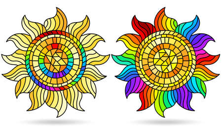 Set of illustrations in stained glass style with abstract suns, elements isolated on a white background