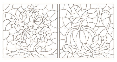 Set of contour illustrations in stained glass style with vegetable and floral still lifes, dark contours on a white background Illustration