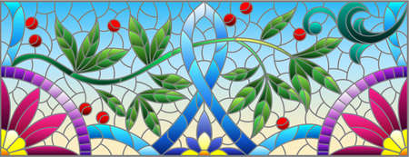 Illustration in stained glass style with abstract flowers, leaves and curls on a yellow background, rectangular horizontal image Illustration