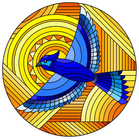 Illustration in stained glass style with abstract geometric blue bird and the sun on an orange background, round image