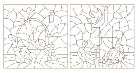 Set of contour illustrations of stained glass Windows with still lifes, a bottle of wine and fruit, dark outlines on a white background Illustration