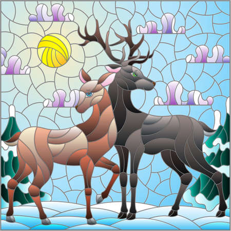 Illustration in stained glass style with a pair of deer on the background of a winter landscape Vettoriali