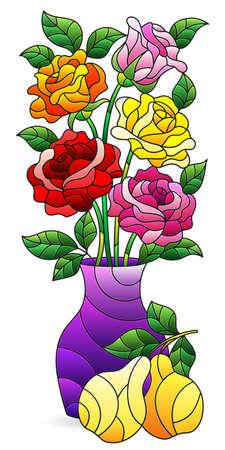 Illustration in a stained glass style with an isolated element, a bouquet of roses in a vase and fruit on a white background Vettoriali