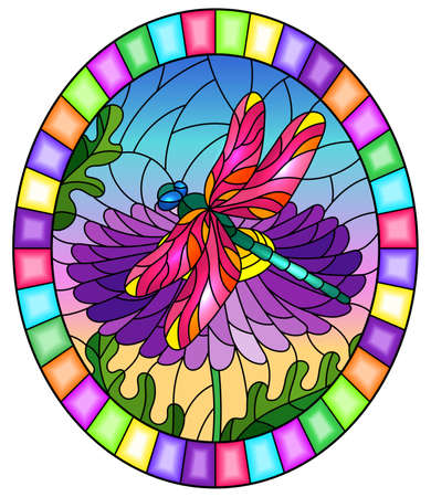 Stained glass illustration with a beautiful flower and a bright dragonfly against a blue sky, oval image Vettoriali