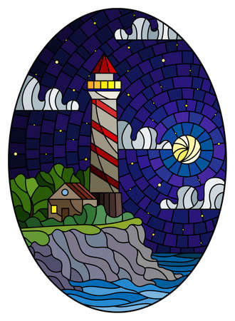Illustration in stained glass style with a lighthouse on the background of the sea and the starry night sky and moon, oval image