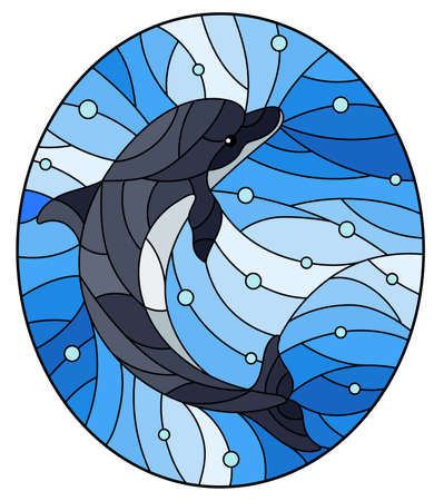 Illustration in the style of stained glass with dolphin on a background of water and air bubbles, oval image Vettoriali