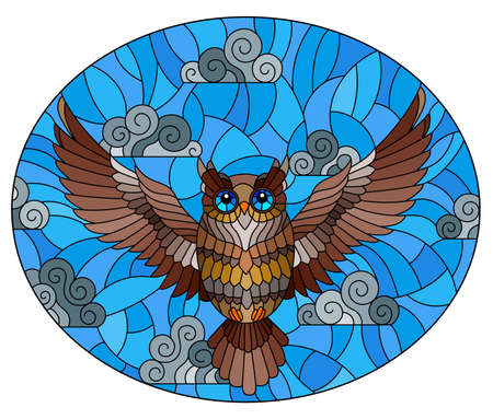 Illustration in stained glass style with abstract brown owl flying on sky background with clouds, oval image