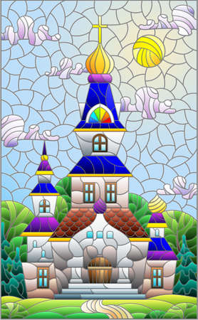 Illustration in stained glass style with a Christian ancient temple on a background of sunny blue sky and trees