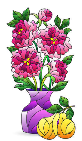 Illustration in a stained glass style with an isolated element, a bouquet of pink peonies and pears in a bright vase on a white background Vettoriali