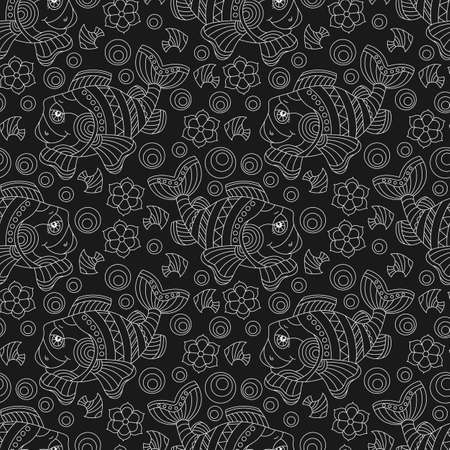 Seamless pattern with cartoon fun fishes and flowers, light contour animals on a dark background Vettoriali