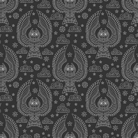 Seamless pattern with owls, stars and clouds, light outline birds on a dark background