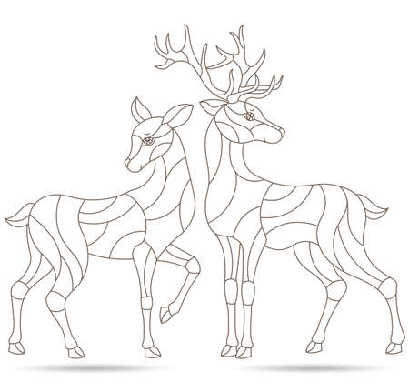 Set of contour illustrations in stained glass style with funny cartoon deers, outline figures isolated on a white background