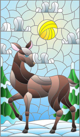 Illustration in stained glass style with a deer on the background of a winter landscape Vettoriali