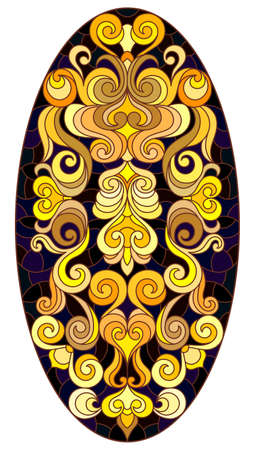 Illustration in stained glass style with floral ornament, imitation gold on dark background with swirls and floral motif, vertical orientation, oval image