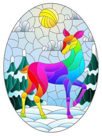 Illustration in stained glass style with a abstract rainbow deer on the background of a winter landscape, oval image