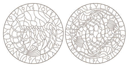 Set of contour illustrations in stained glass style with shrimps on a background of water and air bubbles, dark contours on a white background, round images Vettoriali