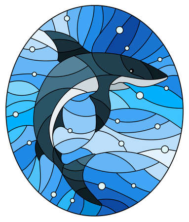 Illustration in the style of stained glass with a shark on a blue water and air bubbles background, oval image