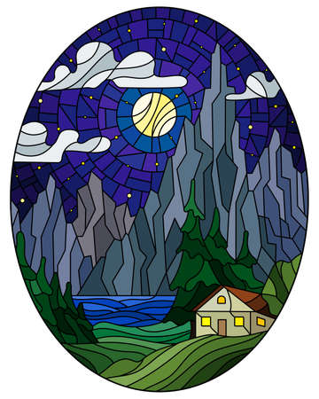 Illustration in stained glass style with a lonely house on a background of pine forests, lake, mountains and starry night sky with clouds, oval image